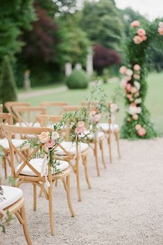 romantic outdoor wedding aisle chair decoration ideas wedding chairs 40 Romantic Blush Pink Wedding Ideas for Spring/Summer 2020 - Oh Best Day Ever Wedding Aisle Outdoor, Wedding Ceremony Chairs, Outdoor Weddings, Wedding Arches, Garden Weddings, Ceremony Backdrop, Indoor Wedding, Chairs For Wedding, Outdoor Wedding Aisle Decor