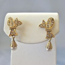 Enchanting GEORGIAN Style 14k Diamond Dangling Cultured Pearl BOW Earrings