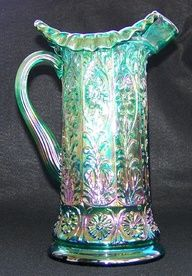 "Electric Green Fenton 11"" Milady Carnival Glass Pitcher w/Bill Fenton Signature"