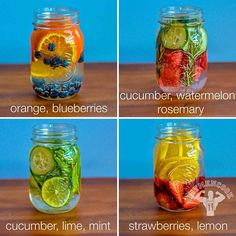 4 REAL vitamin water to help with detox, hydration and energy Infused Water Recipes, Fruit Infused Water, Fruit Water, Infused Waters, Flavored Waters, Fresh Fruit, Healthy Water, Healthy Drinks, Healthy Tips