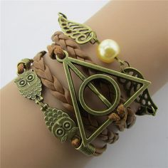 2016 Vogue Appeal Hand-Woven Harry Potter Hallows Wings Bracelets Classic Multilayer Braided - Silver Jewellery 925 - SHOP NOW Harry Potter Armband, Bijoux Harry Potter, Harry Potter Schmuck, Harry Potter Bracelet, Leather Charm Bracelets, Leather Jewelry, Link Bracelets, Chain Bracelets, Leather Chain