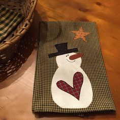 Snowman Tea Towel / Holiday  / Winter Tea Towel  /Homespun /Item 1014