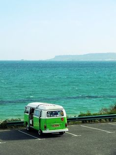 in my lime green vw bus takin in the scene