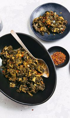 Bittersweet kale mingles with a tangy verjus and spicy pepper flakes in this spring greens recipe. Feel free to substitute other greens like cabbage, collards, or spinach, and adjust cooking times as needed. Store-bought peppadews are a good replacement for the pickled aji dulce, and if you can't find fish pepper flakes, cayenne or Aleppo pepper are easy substitutions. This recipes comes from Chef Spike Gjerde of Woodberry Kitchen in Baltimore.