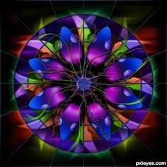 Mandala -- A Sunburst of Vibrant Colors! Stained Glass Flowers, Stained Glass Art, Stained Glass Windows, Mosaic Art, Mosaic Glass, Photoshop Pics, Leaded Glass, Glass Design, Fractal Art