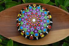 Hand Painted Mandala Stone/ Big Mandala/ Wedding table decor/ Hand painted mandala rocks/ Mandala beach rock dot art hand painted/ Love gift