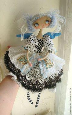 """Купить Амели...интерьерная кукла в стиле """"прованс"""" - чёрно-белый, интерьерная кукла"""