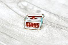 Typewriter Pin Badge Enamel Metal Blue Gold Mint Vintage Retro