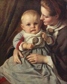 Mother And Child-Albert Gliemann (1822 – 1871, German)