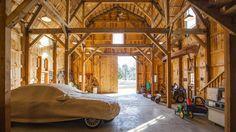 Gambrel barn used for storage.  Gorgeous wood beams! Customizable wood barn.  www.sandcreekpostandbeam.com https://www.facebook.com/SandCreekPostandBeam