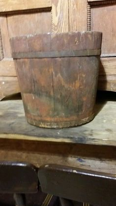 Early Antique Primitive Wooden Bucket Staved Old Paint 1800's Aafa