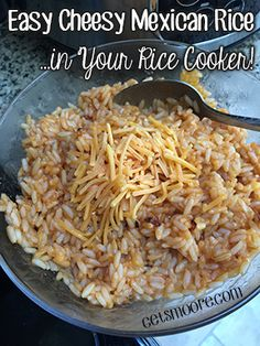 Easy Cheesy Mexican Rice in the Rice Cooker - getsmoore.com