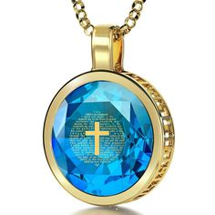 """""""Psalm 23"""", 24k Gold Plated Necklace, Cubic Zirconia"""