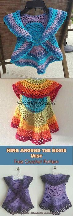 crochet for beginners Ring Around the Rosie Vest Free Crochet Pattern - summer vest for kids and adults, easy pattern for beginners Poncho Au Crochet, Crochet Jacket Pattern, Pull Crochet, Crochet Braids, Crochet Shrugs, Shrug Pattern, Crotchet, Crochet Simple, Crochet For Kids
