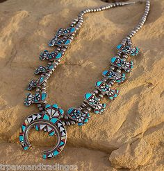 """Native American Vintage Pawn Zuni Squash Blossom Inlay Necklace 19"""" by R.B"""