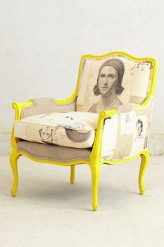 Yellow Chair - Portrait art upholstery - Vintage home Decor Ideas- Funky Furniture, Unique Furniture, Painted Furniture, Home Furniture, Furniture Design, Painted Wood, Love Chair, Diy Chair, Chair Redo