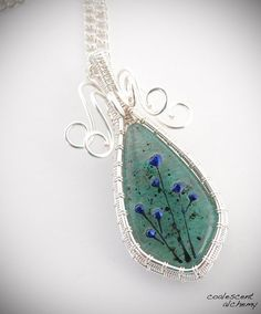 Blossom Woven Wire Fused Glass Pendant Silver by CoalescentAlchemy