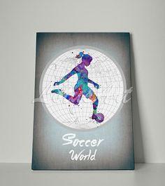 Girl Soccer World Canvas Print Watercolor Art Print Sport Wall Art Print Girl Soccer Wall Art Home Decor Nursery Decor Girl's Room Gift #worldsoccer