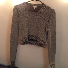 Urban outfitters knit crop top Black/grey/white knit crop top Urban Outfitters Sweaters Crew & Scoop Necks
