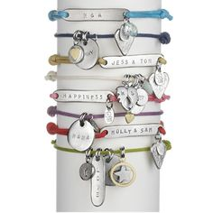 Adorable and very useful, Childrens Safety Identity bracelets.   You can choose from one of 12 wonderful coloured straps, and have your childs name hand-stamped on one side and your phone number on the other.   There are a multitude of fabulous charms you can add too!