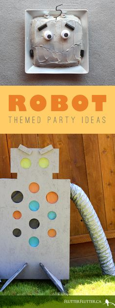 After that amazing cake, I think my favorite part is the giant robot built for a game of toss. The colored circles are taped onto the back of the plywood robot frame so that they break when the ball hits the center. Birthday Party Venues, Kids Birthday Themes, Boy Birthday Parties, 5th Birthday, Robot Theme, Transformer Birthday, Party Time, Party Fun, Party Ideas