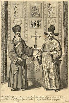 Matteo Ricci and Paul Xu Guangqi, from La Chine d'Athanase Kirchere de la Compagnie de Jesus: illustre de plusieurs monuments tant sacres que profanes: Amsterdam, 1670