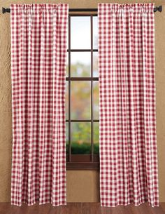 """Buffalo Red Check Panel Curtains 84"""""""