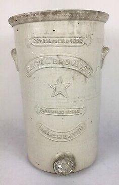 Antique Cream Glazed Stoneware Water Filter - Slack & Brownlow, Manchester    eBay Earthenware, Stoneware, Blue Desserts, Mantle Piece, Water Filters, Side Plates, Glazes For Pottery, Slacks, Tea Set