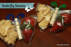 DigiCrumbs: Butterfly Snack for Kids - A Fun Preschool Snack. animal crackers and strawberries good combination