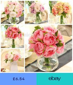 10 Heads Artificial Peony Silk Bridal Wedding Flowers Bouquets Craft Party  Decor 52bddf9e00e