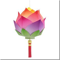 Lotus Flower Paper Lantern. Click on the Canon Creative Park link to go straight to the pattern. New Year's Crafts, Diy And Crafts, Crafts For Kids, Arts And Crafts, Kirigami, Diy Flowers, Paper Flowers, Chinese New Year Crafts, Papier Diy