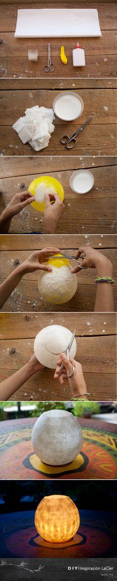 "¿Qué te parece esta #lámpara de #papel""? ¡Manos a la obra! Mira el tutorial completo aquí: http://lacler.mx/ce-nest-pas-du-papier-mache/"