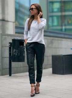leather jogger pants. studded heel shoe porn