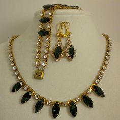 Vintage Green & Crystal Rhinestone Gold-tone Parure, Necklace/Bracelet/Earrings #Unbranded