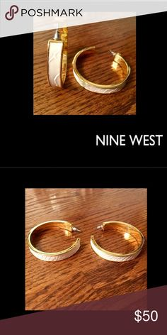 """🆕Nine West🌹White Reptile Hoops Classy yet sassy🌹 2"""" hoop by 1/2"""" w🌹by Nine West🌹white leather reptile design🌹high polish gold to perfection🌹🚫trades🌹matching bangle bracelet is listed Nine West Jewelry Earrings"""