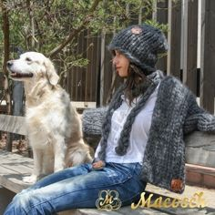 Kit cardigan + oversized hat + + GIFT - braided scarf - big knit yarn wool MACOSCH
