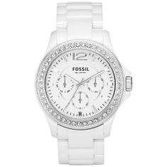 Fossil Women's Riley CE1010 White Ceramic Quartz Watch with White Dial