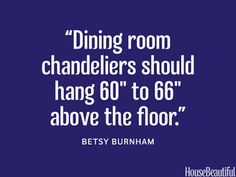 Proper Chandelier height. #Dining_room #Chandelier #Decor_tips