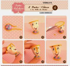 potts and chip (beauty and the beast) chip - cakesdecor - cake decorating tutorial Fimo Disney, Polymer Clay Disney, Cute Polymer Clay, Disney Diy, Polymer Clay Ornaments, Polymer Clay Figures, Polymer Clay Projects, Chip Beauty And The Beast, Beauty And The Beast Party
