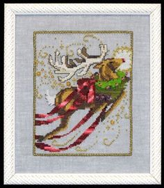 $10.79 Rudolph - Christmas Eve Couriers by Nora Corbett Item: NC121 Type: Cross Stitch Patterns Model stitched on 32 Ct. Twilight Blue linen with DMC floss, Kreink #4 Braid (028, 032, 421), Caron Waterlilies (204), Rainbow Gallery Wisper(W88), Mill Hill Beads (02011, 42011), and Mill Hill Treasures (13007, 13052-need 3,13062, 13063, 13065). Stitch Count: 80W x 100H.