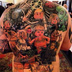 Full-back Star Wars Lego tattoo Nerdy Tattoos, Star Tattoos, Tatoos, Star Wars Quotes, Star Wars Humor, Lego Tattoo, Star Wars Design, Epic Tattoo, Star Wars Facts