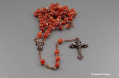 Catholic Copper Rosary Faceted Manchurian Agate by JessesVintage, $54.99