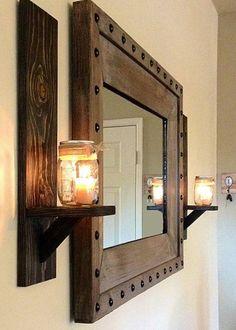 wohnzimmermöbel wandideen wandspiegel kerzenlicht