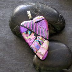 Pink Heart, fused dichroic glass pendant, handmade