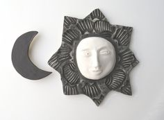 Ceramic Ceramic Wall Art Black and White Sun and by acosmicmermaid
