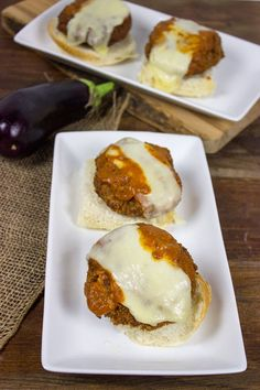 Eggplant Parmesan Burgers - can also make these into meatballs, and use as a vegetarian alternative.