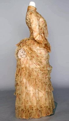 Printed tulle bustle dress, 1886. From Augusta Auctions.