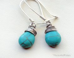 Turquoise Teardrop Earrings by PiscesAndFishes on Etsy,@piscesandfishes @Sun San