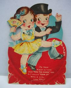 Vintage Valentine's Day Card ---a young Fred and Ginger?