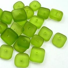 rounded square heishi green sea glass.  Reminds me of Limelight #17 Minis found at Envelopes.com!